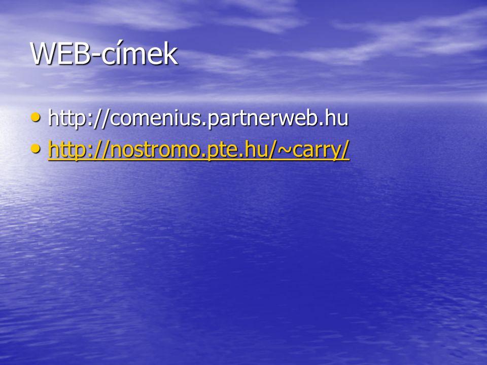 WEB-címek http://comenius.partnerweb.hu http://comenius.partnerweb.hu http://nostromo.pte.hu/~carry/ http://nostromo.pte.hu/~carry/ http://nostromo.pt