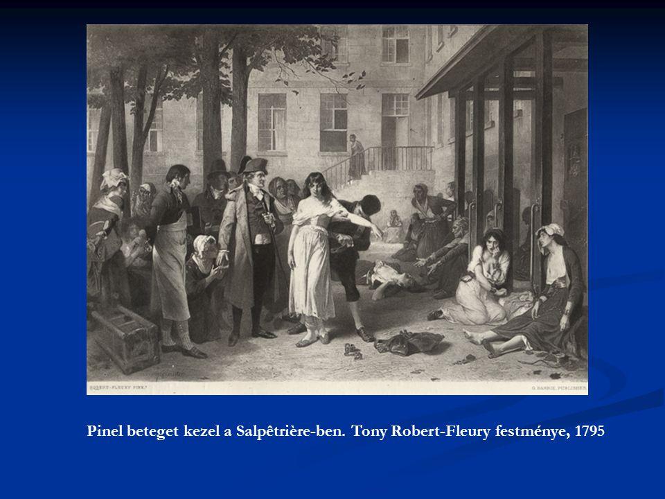 Pinel beteget kezel a Salpêtrière-ben. Tony Robert-Fleury festménye, 1795