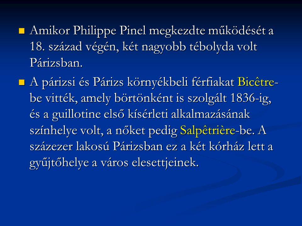Amikor Philippe Pinel megkezdte működését a 18. század végén, két nagyobb tébolyda volt Párizsban. Amikor Philippe Pinel megkezdte működését a 18. szá