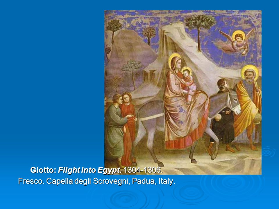 Giotto: Flight into Egypt. 1304-1306. Fresco. Capella degli Scrovegni, Padua, Italy.