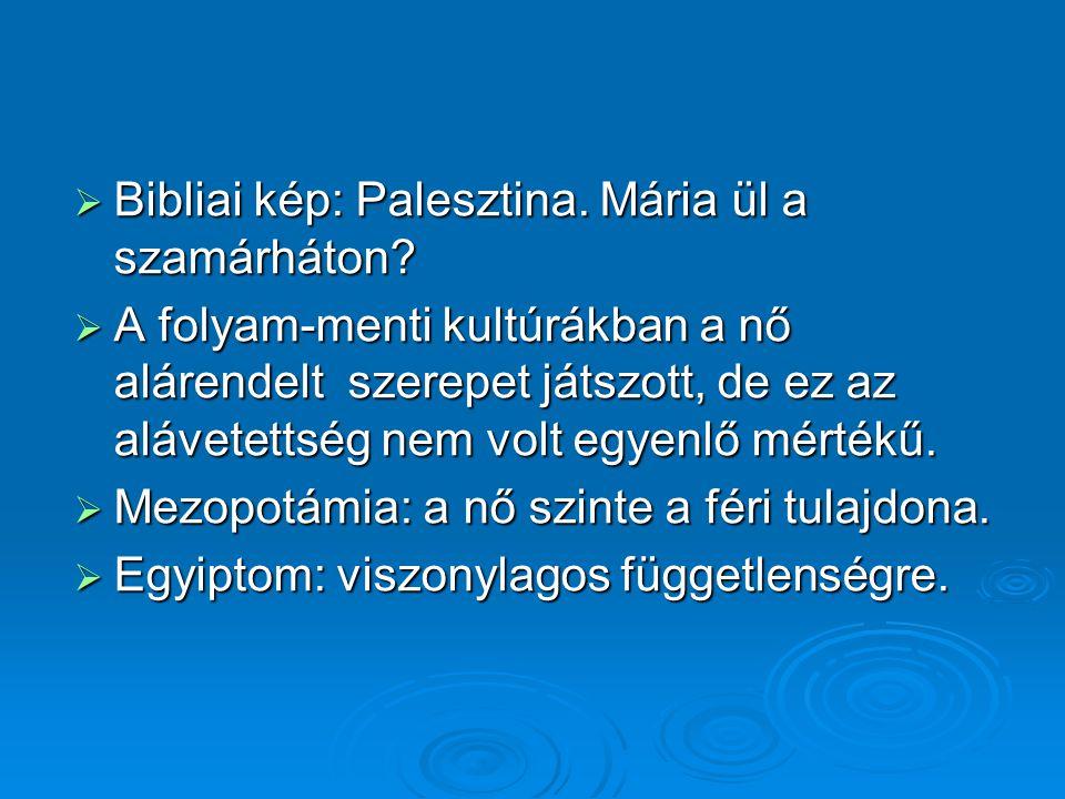  Bibliai kép: Palesztina. Mária ül a szamárháton?  A folyam-menti kultúrákban a nő alárendelt szerepet játszott, de ez az alávetettség nem volt egye