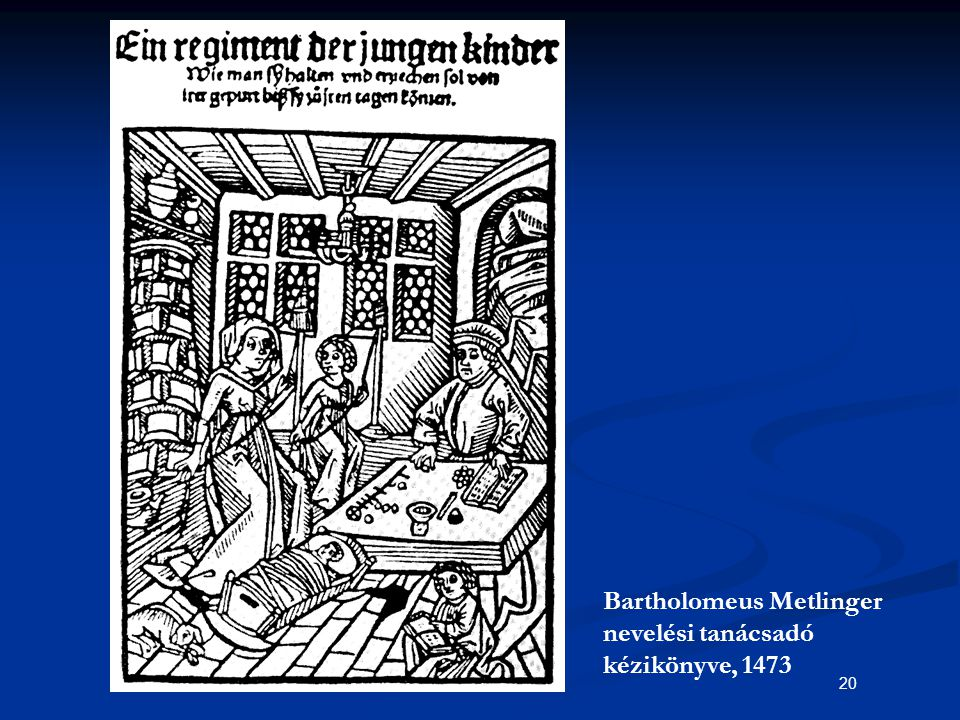 20 Bartholomeus Metlinger nevelési tanácsadó kézikönyve, 1473