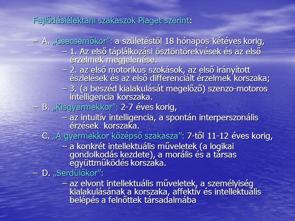 Fejlődéslélektani szakaszok Piaget szerint: –A.