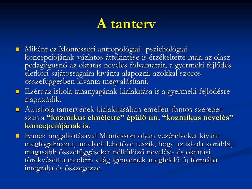 A tanterv Miként ez Montessori antropológiai- pszichológiai koncepciójának vázlatos áttekintése is érzékeltette már, az olasz pedagógusnő az oktatás n