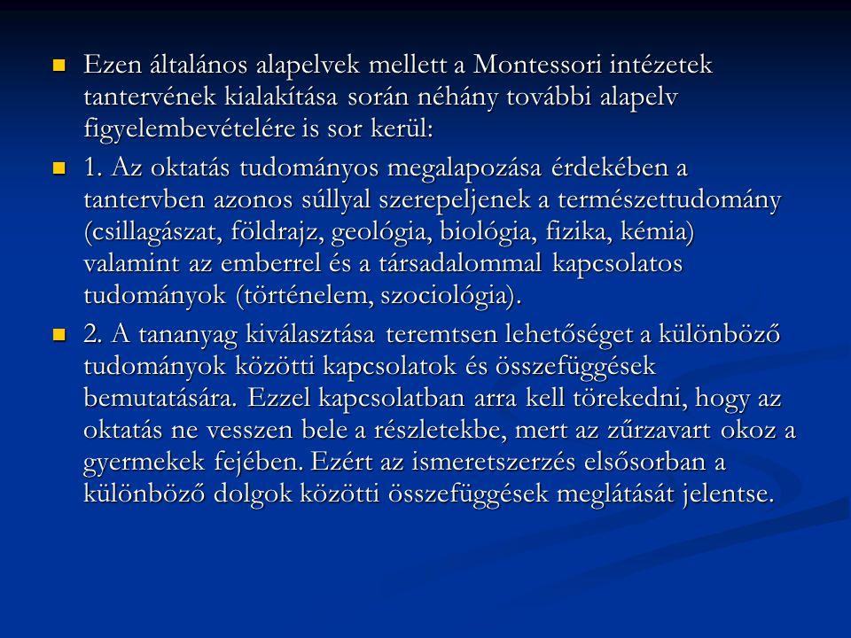 Ezen általános alapelvek mellett a Montessori intézetek tantervének kialakítása során néhány további alapelv figyelembevételére is sor kerül: Ezen ált