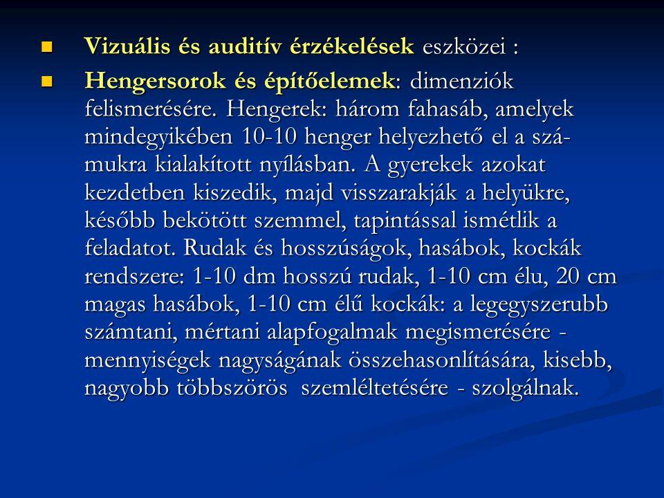 Vizuális és auditív érzékelések eszközei : Vizuális és auditív érzékelések eszközei : Hengersorok és építőelemek: dimenziók felismerésére. Hengerek: h