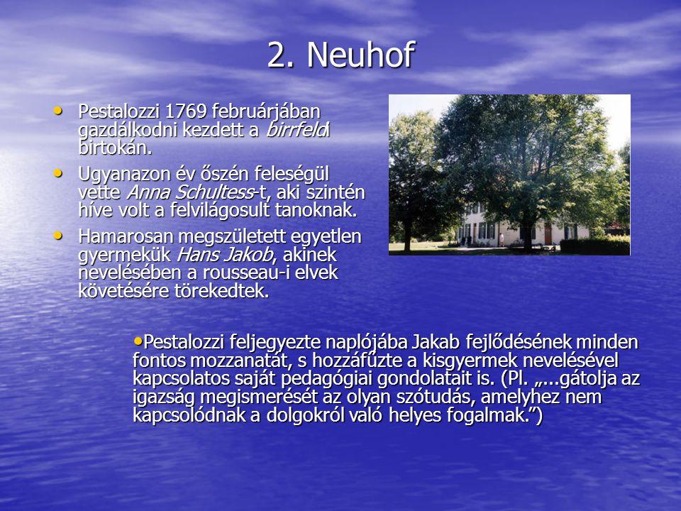 2. Neuhof Pestalozzi 1769 februárjában gazdálkodni kezdett a birrfeldi birtokán. Pestalozzi 1769 februárjában gazdálkodni kezdett a birrfeldi birtokán