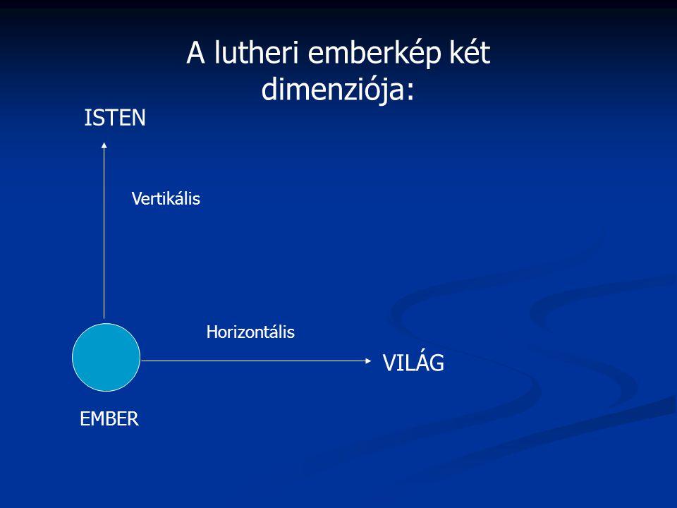 VILÁG ISTEN Vertikális Horizontális A lutheri emberkép két dimenziója: EMBER