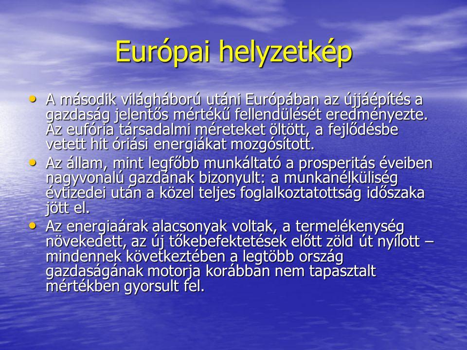 Európai helyzetkép A második világháború utáni Európában az újjáépítés a gazdaság jelentős mértékű fellendülését eredményezte. Az eufória társadalmi m