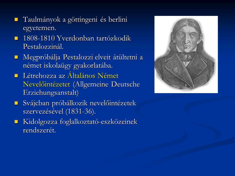 Taulmányok a göttingeni és berlini egyetemen. Taulmányok a göttingeni és berlini egyetemen. 1808-1810 Yverdonban tartózkodik Pestalozzinál. 1808-1810