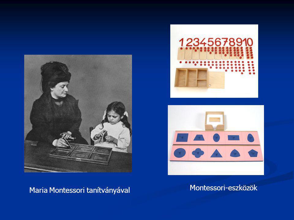Maria Montessori tanítványával Montessori-eszközök