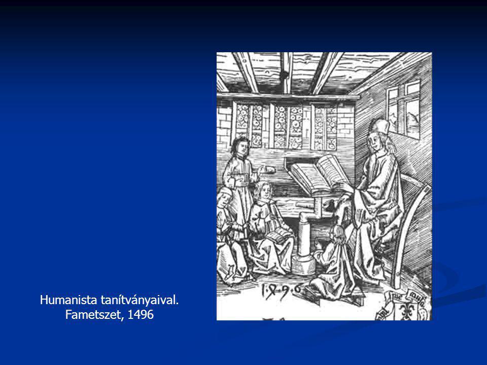 Humanista tanítványaival. Fametszet, 1496