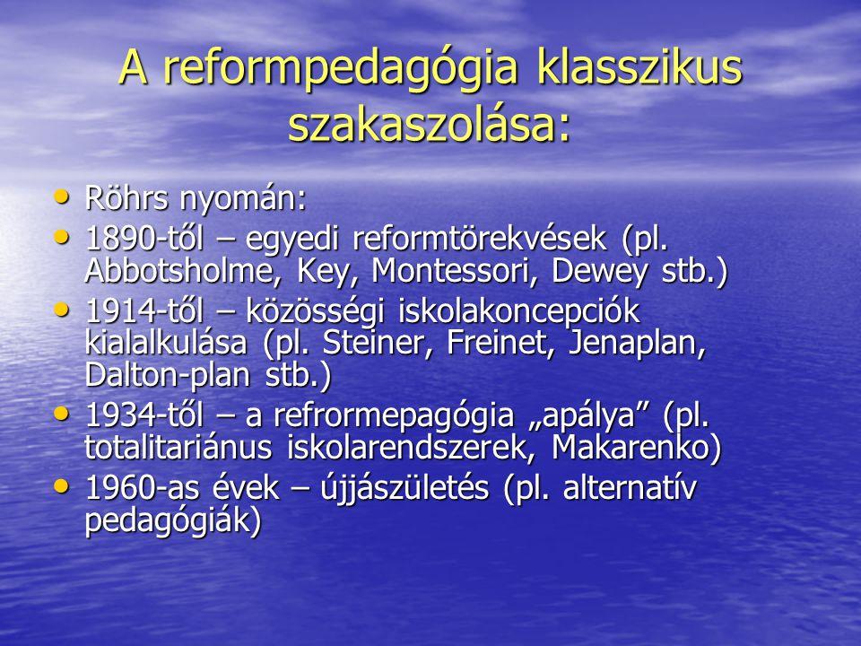 A reformpedagógia klasszikus szakaszolása: Röhrs nyomán: Röhrs nyomán: 1890-től – egyedi reformtörekvések (pl. Abbotsholme, Key, Montessori, Dewey stb