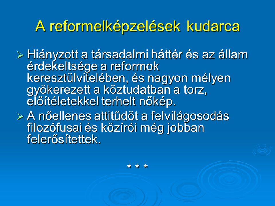 A reformelképzelések kudarca  Hiányzott a társadalmi háttér és az állam érdekeltsége a reformok keresztülvitelében, és nagyon mélyen gyökerezett a kö