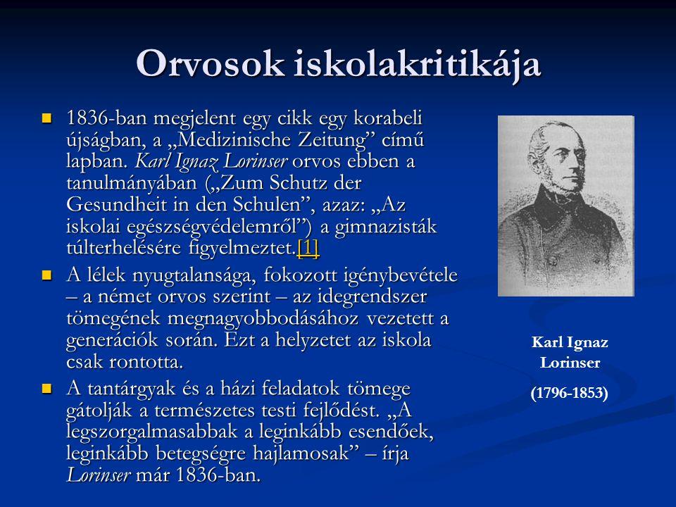 """Orvosok iskolakritikája 1836-ban megjelent egy cikk egy korabeli újságban, a """"Medizinische Zeitung"""" című lapban. Karl Ignaz Lorinser orvos ebben a tan"""