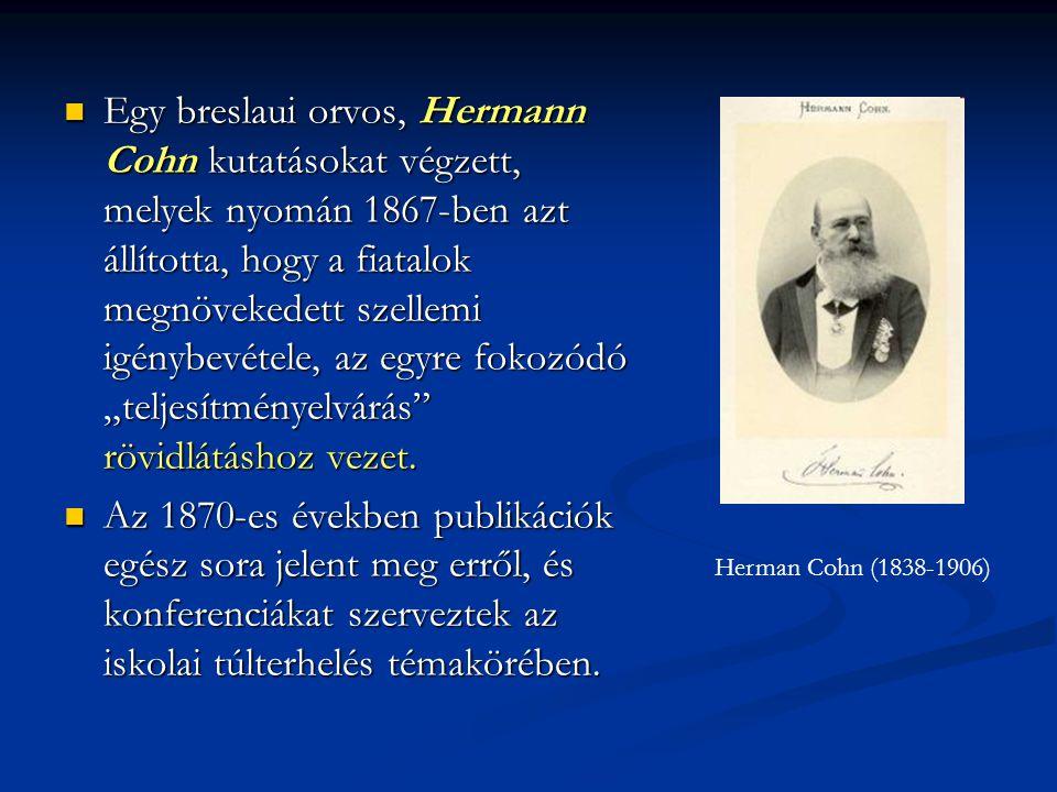 Egy breslaui orvos, Hermann Cohn kutatásokat végzett, melyek nyomán 1867-ben azt állította, hogy a fiatalok megnövekedett szellemi igénybevétele, az e