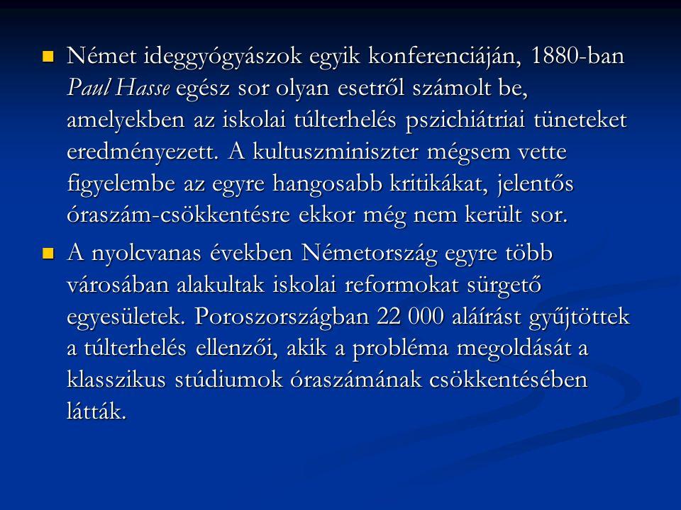 Német ideggyógyászok egyik konferenciáján, 1880-ban Paul Hasse egész sor olyan esetről számolt be, amelyekben az iskolai túlterhelés pszichiátriai tün