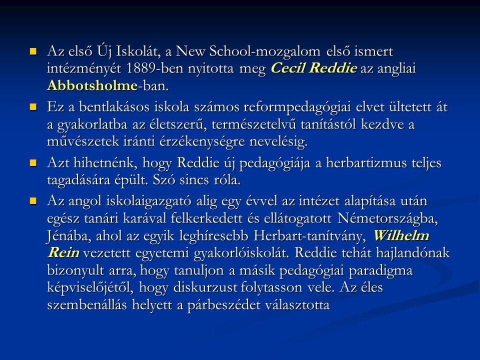 Az első Új Iskolát, a New School-mozgalom első ismert intézményét 1889-ben nyitotta meg Cecil Reddie az angliai Abbotsholme-ban. Az első Új Iskolát, a
