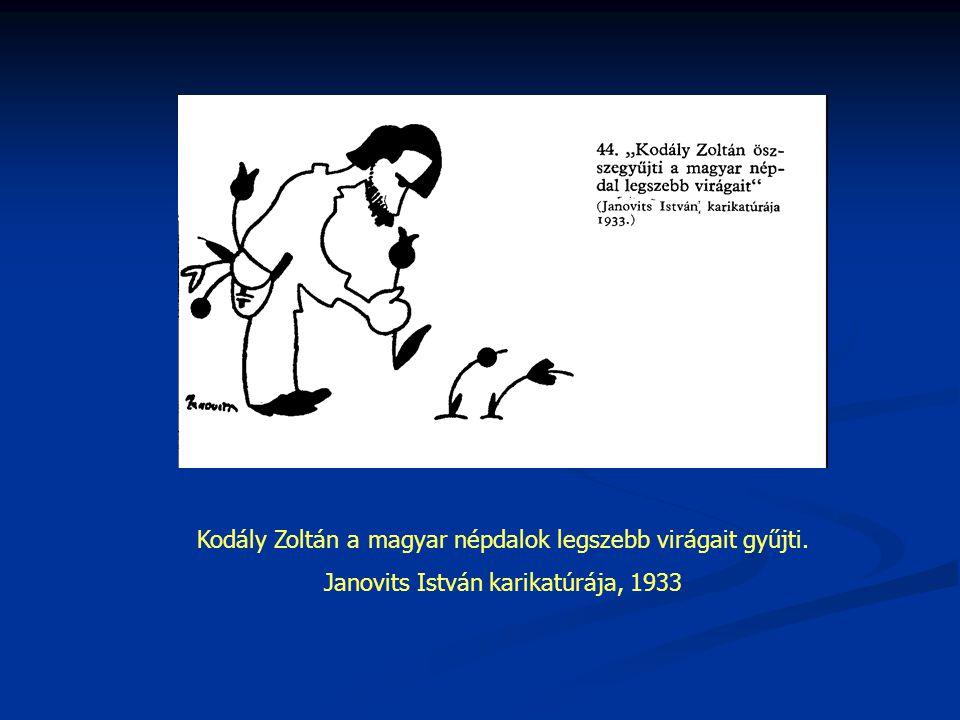 Kodály Zoltán a magyar népdalok legszebb virágait gyűjti. Janovits István karikatúrája, 1933