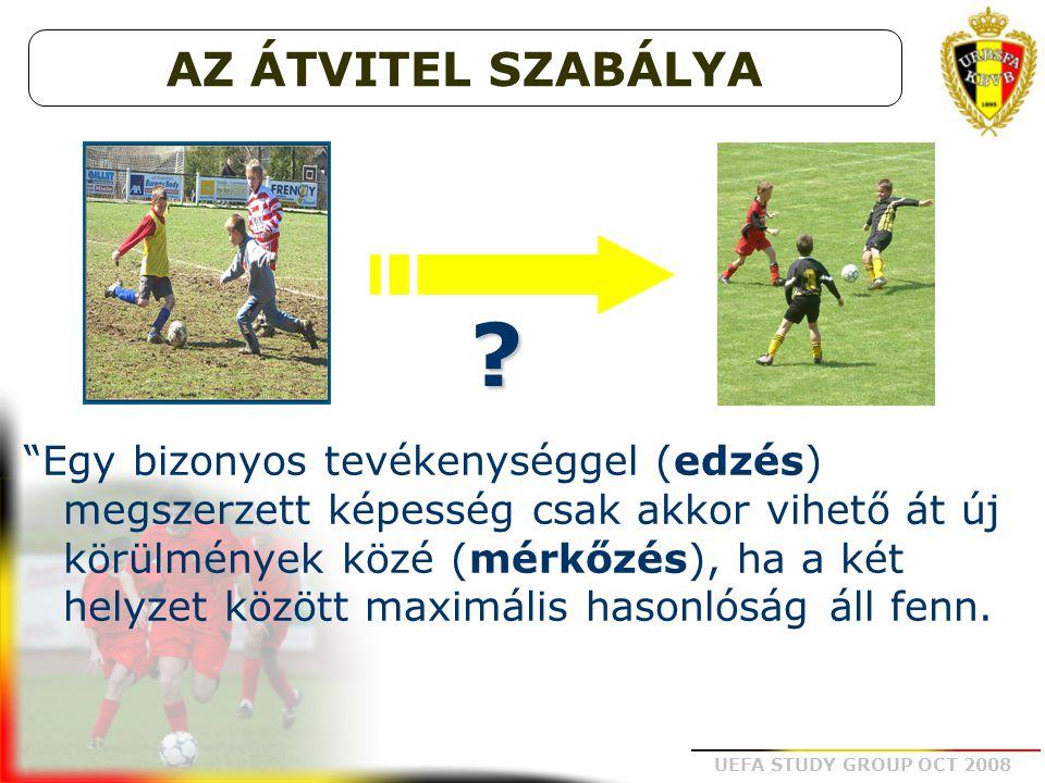 """UEFA STUDY GROUP OCT 2008 """"Egy bizonyos tevékenységgel (edzés) megszerzett képesség csak akkor vihető át új körülmények közé (mérkőzés), ha a két hely"""