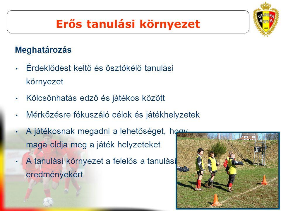UEFA STUDY GROUP OCT 2008 Erős tanulási környezet Érdeklődést keltő és ösztökélő tanulási környezet Kölcsönhatás edző és játékos között Mérkőzésre fók
