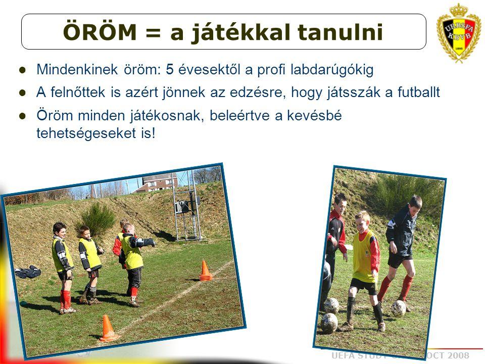 UEFA STUDY GROUP OCT 2008 Mindenkinek öröm: 5 évesektől a profi labdarúgókig A felnőttek is azért jönnek az edzésre, hogy játsszák a futballt Öröm min