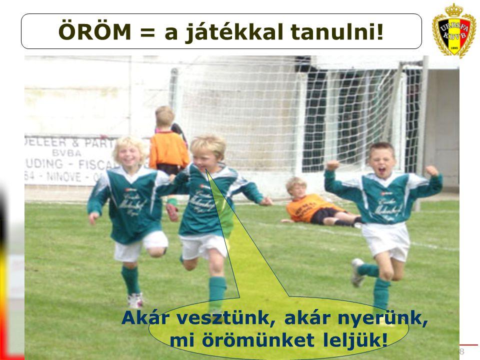 UEFA STUDY GROUP OCT 2008 Akár vesztünk, akár nyerünk, mi örömünket leljük! ÖRÖM = a játékkal tanulni!