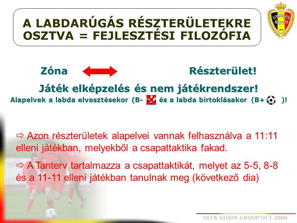 UEFA STUDY GROUP OCT 2008 A LABDARÚGÁS RÉSZTERÜLETEKRE OSZTVA = FEJLESZTÉSI FILOZÓFIA Zóna Részterület! Játék elképzelés és nem játékrendszer! Alapelv