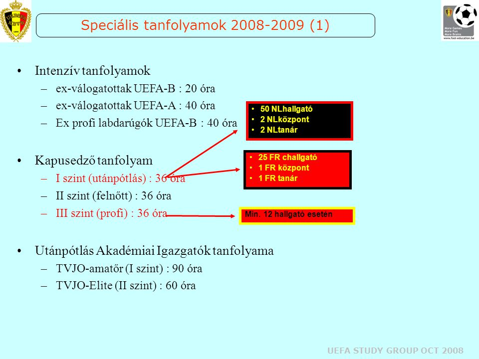 UEFA STUDY GROUP OCT 2008 Speciális tanfolyamok 2008-2009 (1) Intenzív tanfolyamok –ex-válogatottak UEFA-B : 20 óra –ex-válogatottak UEFA-A : 40 óra –