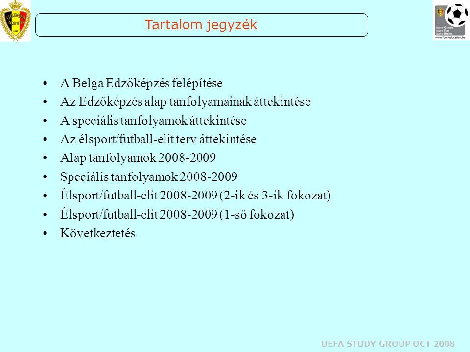 UEFA STUDY GROUP OCT 2008 Tartalom jegyzék A Belga Edzőképzés felépítése Az Edzőképzés alap tanfolyamainak áttekintése A speciális tanfolyamok áttekin