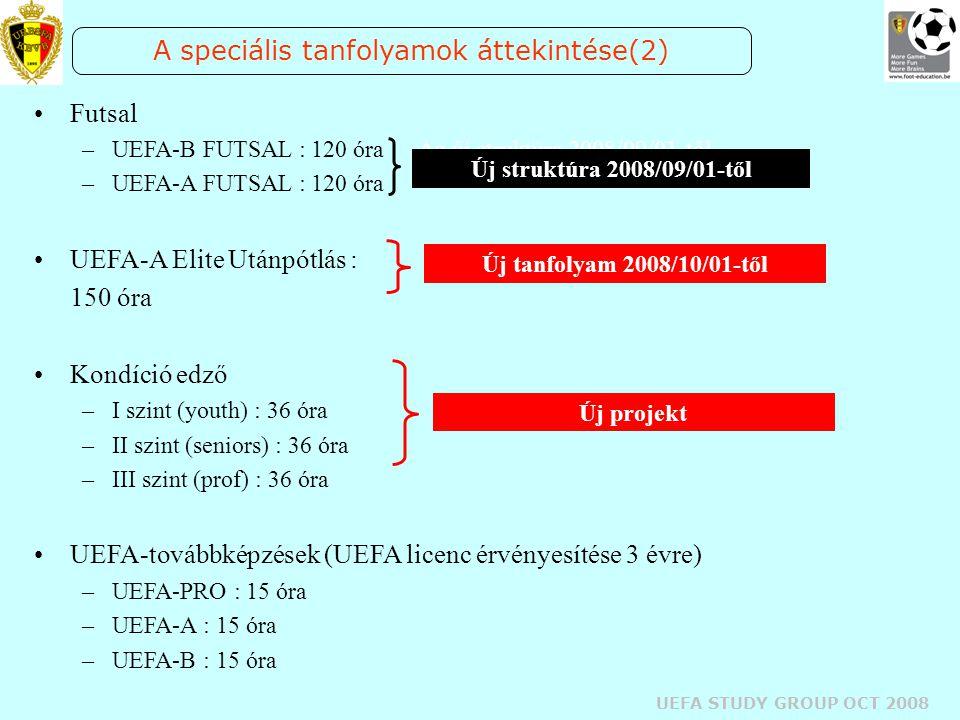 UEFA STUDY GROUP OCT 2008 A speciális tanfolyamok áttekintése(2) Futsal –UEFA-B FUTSAL : 120 óraAz új struktúra 2008/09/01-től –UEFA-A FUTSAL : 120 ór