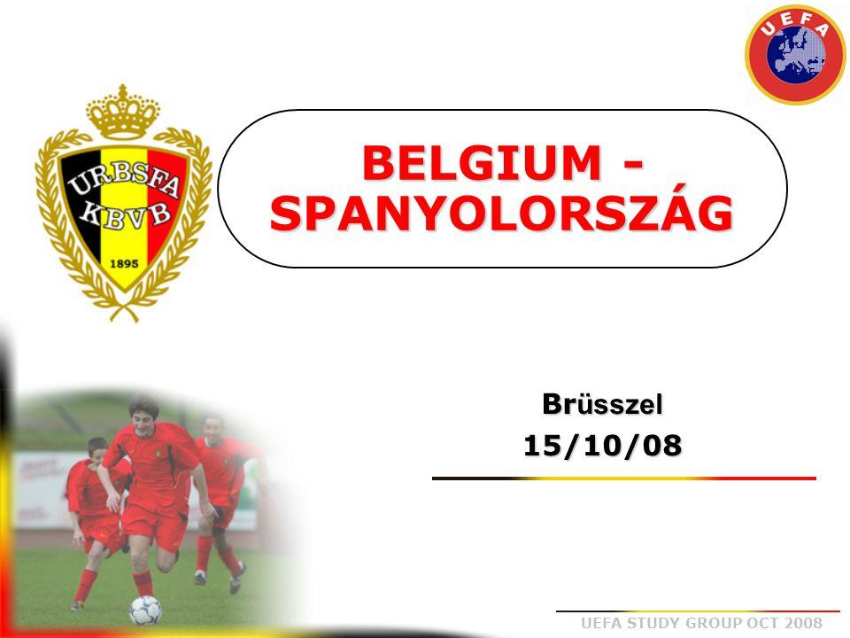 UEFA STUDY GROUP OCT 2008 1 Stijnen 3 Kompany (86°) 5 Vermaelen (°85) 4 Simons 7 Witsel (°89) 9 Sonck 11 Vanbuyten 2 Vandenborre (°87) 8 Vertonghen (°87) 6 Fellaini (°87) 10 Dembele (°87)