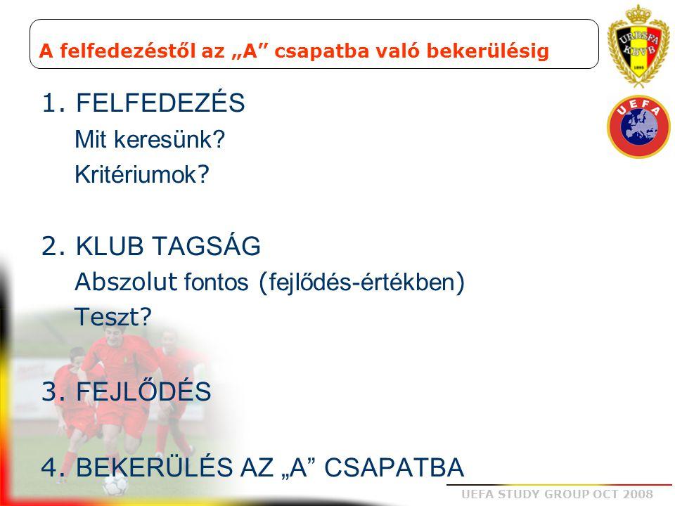 UEFA STUDY GROUP OCT 2008  Az alakzatok legtökéletesebb útja  A zónában való játék támogatása = > intelligens játékos  Különbség B+ és B- között (labda birtoklás, labdaszerzés)  A terület racionális felhasználása  Azonos felelősségvállalás  Az erőfeszítés elosztása  Az alakzat összeköti a posztokat Tehetségek felfedezése: játék a zónában