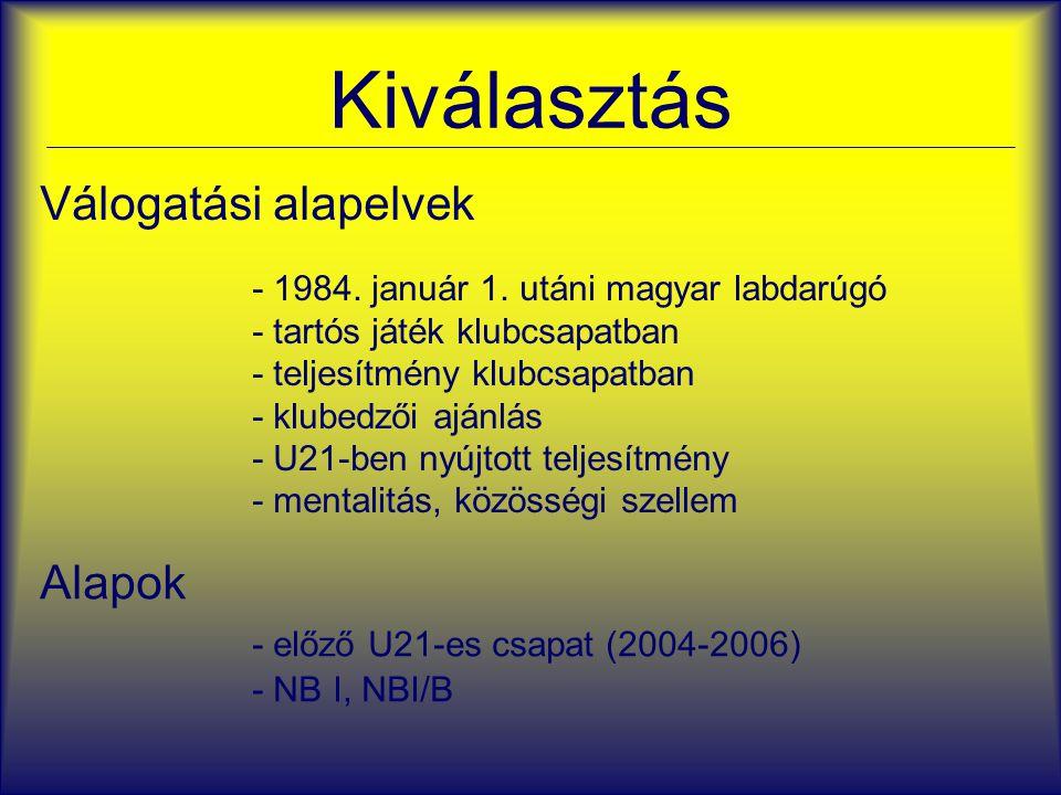 Kiválasztás Válogatási alapelvek - 1984. január 1. utáni magyar labdarúgó - tartós játék klubcsapatban - teljesítmény klubcsapatban - klubedzői ajánlá