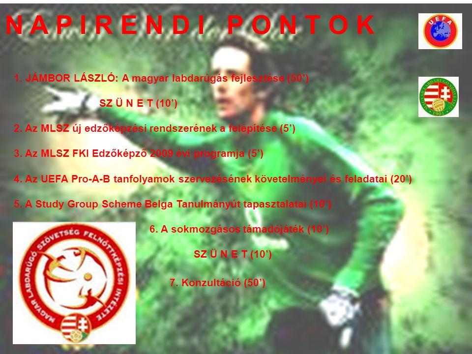 N A P I R E N D I P O N T O K 1. JÁMBOR LÁSZLÓ: A magyar labdarúgás fejlesztése (50') SZ Ü N E T (10') 2. Az MLSZ új edzőképzési rendszerének a felépí