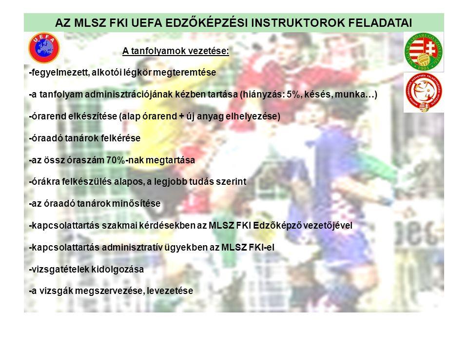 AZ MLSZ FKI UEFA EDZŐKÉPZÉSI INSTRUKTOROK FELADATAI A tanfolyamok vezetése: -fegyelmezett, alkotói légkör megteremtése -a tanfolyam adminisztrációjána