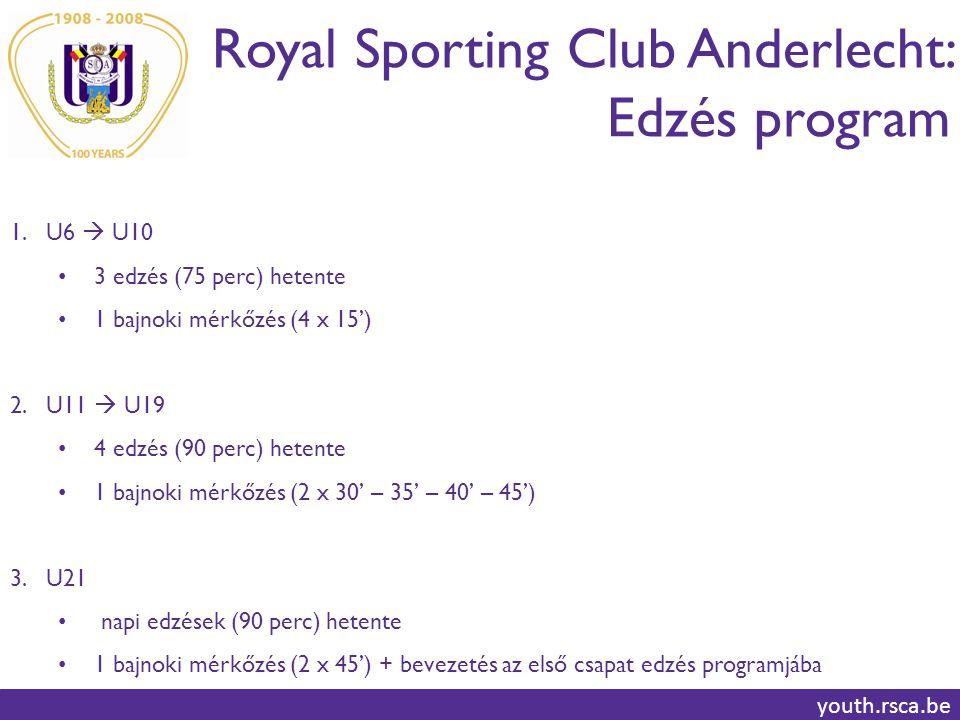 Royal Sporting Club Anderlecht: Edzés program youth.rsca.be 1.U6  U10 3 edzés (75 perc) hetente 1 bajnoki mérkőzés (4 x 15') 2.U11  U19 4 edzés (90 perc) hetente 1 bajnoki mérkőzés (2 x 30' – 35' – 40' – 45') 3.U21 napi edzések (90 perc) hetente 1 bajnoki mérkőzés (2 x 45') + bevezetés az első csapat edzés programjába