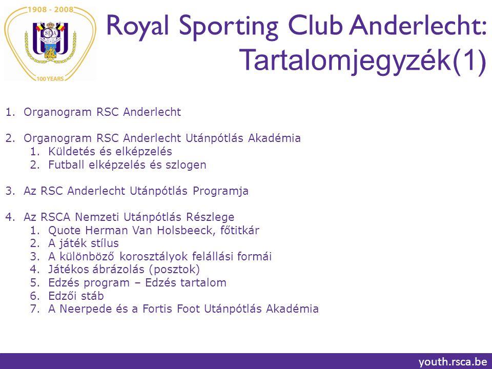 Royal Sporting Club Anderlecht: Tartalomjegyzék(1 ) youth.rsca.be 1.Organogram RSC Anderlecht 2.Organogram RSC Anderlecht Utánpótlás Akadémia 1.Küldetés és elképzelés 2.Futball elképzelés és szlogen 3.Az RSC Anderlecht Utánpótlás Programja 4.Az RSCA Nemzeti Utánpótlás Részlege 1.Quote Herman Van Holsbeeck, főtitkár 2.A játék stílus 3.A különböző korosztályok felállási formái 4.Játékos ábrázolás (posztok) 5.Edzés program – Edzés tartalom 6.Edzői stáb 7.A Neerpede és a Fortis Foot Utánpótlás Akadémia