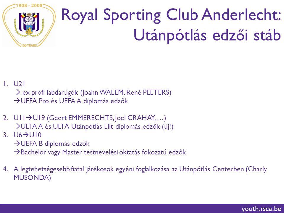 Royal Sporting Club Anderlecht: Utánpótlás edz ő i stáb youth.rsca.be 1.U21  ex profi labdarúgók (Joahn WALEM, René PEETERS)  UEFA Pro és UEFA A diplomás edzők 2.U11  U19 (Geert EMMERECHTS, Joel CRAHAY, …)  UEFA A és UEFA Utánpótlás Elit diplomás edzők (új!) 3.U6  U10  UEFA B diplomás edzők  Bachelor vagy Master testnevelési oktatás fokozatú edzők 4.