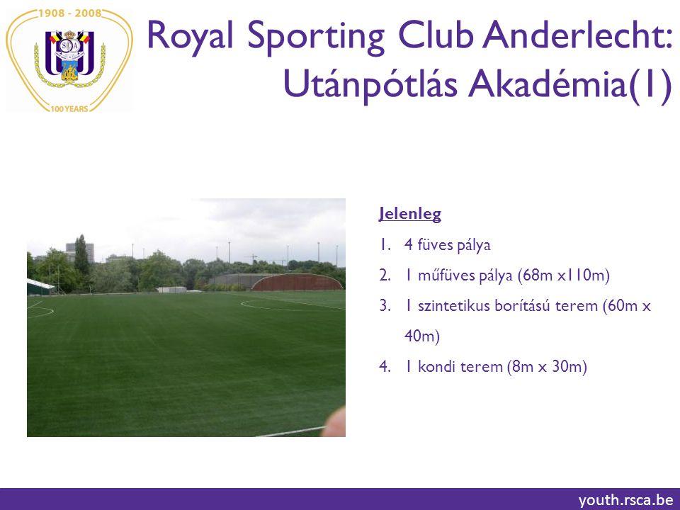 Royal Sporting Club Anderlecht: Utánpótlás Akadémia(1) youth.rsca.be Jelenleg 1.4 füves pálya 2.1 műfüves pálya (68m x110m) 3.1 szintetikus borítású terem (60m x 40m) 4.1 kondi terem (8m x 30m)