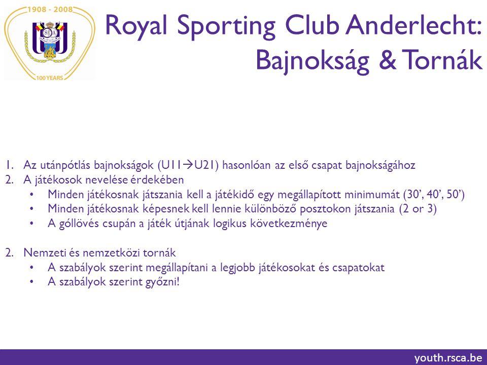 Royal Sporting Club Anderlecht: Bajnokság & Tornák youth.rsca.be 1.Az utánpótlás bajnokságok (U11  U21) hasonlóan az első csapat bajnokságához 2.A játékosok nevelése érdekében Minden játékosnak játszania kell a játékidő egy megállapított minimumát (30', 40', 50') Minden játékosnak képesnek kell lennie különböző posztokon játszania (2 or 3) A góllövés csupán a játék útjának logikus következménye 2.Nemzeti és nemzetközi tornák A szabályok szerint megállapítani a legjobb játékosokat és csapatokat A szabályok szerint győzni!