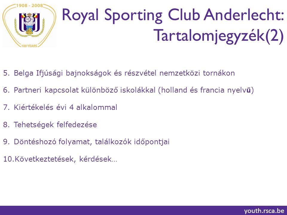 Royal Sporting Club Anderlecht: Játékrendszer youth.rsca.be 10 86 4 352 1 117 9 U11  U15: 1-3-4-3