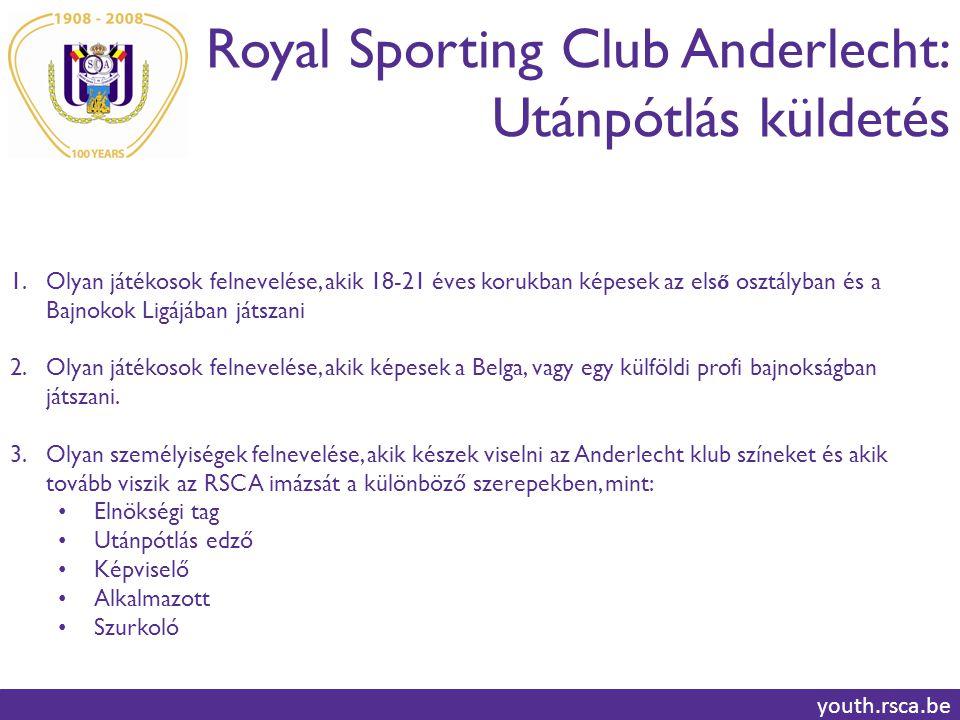 Royal Sporting Club Anderlecht: Utánpótlás küldetés youth.rsca.be 1.Olyan játékosok felnevelése, akik 18-21 éves korukban képesek az els ő osztályban és a Bajnokok Ligájában játszani 2.Olyan játékosok felnevelése, akik képesek a Belga, vagy egy külföldi profi bajnokságban játszani.