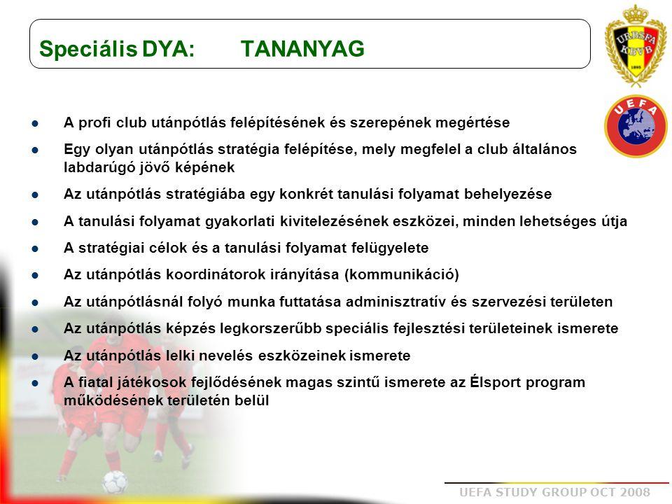 UEFA STUDY GROUP OCT 2008 Speciális DYA: TANANYAG A profi club utánpótlás felépítésének és szerepének megértése Egy olyan utánpótlás stratégia felépít