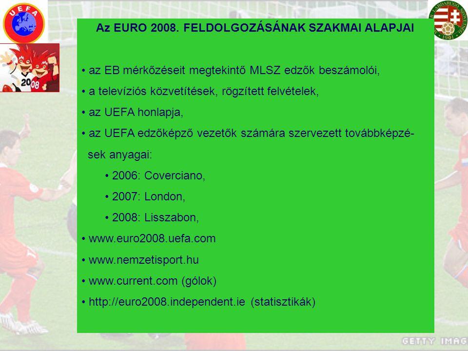 Az EURO 2008. FELDOLGOZÁSÁNAK SZAKMAI ALAPJAI az EB mérkőzéseit megtekintő MLSZ edzők beszámolói, a televíziós közvetítések, rögzített felvételek, az