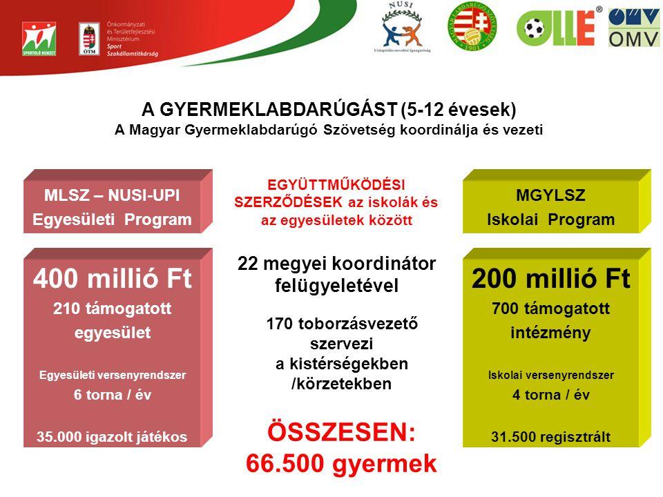 A GYERMEKLABDARÚGÁST (5-12 évesek) A Magyar Gyermeklabdarúgó Szövetség koordinálja és vezeti MLSZ – NUSI-UPI Egyesületi Program 400 millió Ft 210 támogatott egyesület Egyesületi versenyrendszer 6 torna / év 35.000 igazolt játékos MGYLSZ Iskolai Program 200 millió Ft 700 támogatott intézmény Iskolai versenyrendszer 4 torna / év 31.500 regisztrált EGYÜTTMŰKÖDÉSI SZERZŐDÉSEK az iskolák és az egyesületek között 22 megyei koordinátor felügyeletével 170 toborzásvezető szervezi a kistérségekben /körzetekben ÖSSZESEN: 66.500 gyermek