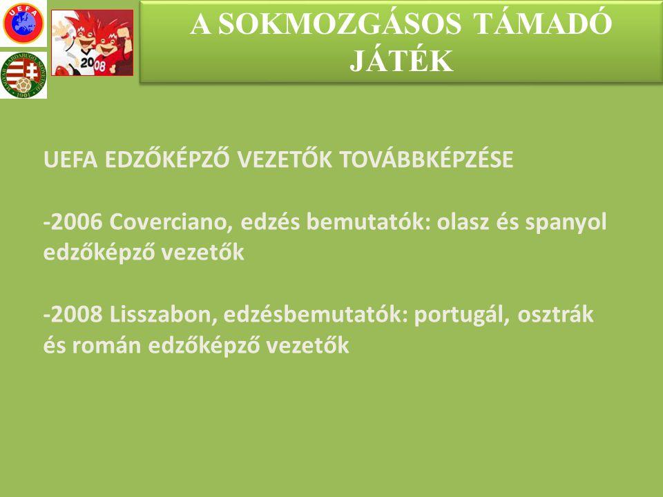 A SOKMOZGÁSOS TÁMADÓ JÁTÉK UEFA EDZŐKÉPZŐ VEZETŐK TOVÁBBKÉPZÉSE -2006 Coverciano, edzés bemutatók: olasz és spanyol edzőképző vezetők -2008 Lisszabon,