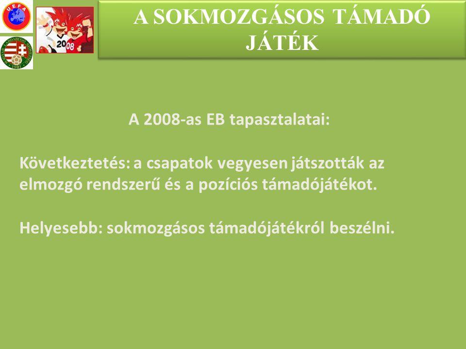 A SOKMOZGÁSOS TÁMADÓ JÁTÉK A 2008-as EB tapasztalatai: Következtetés: a csapatok vegyesen játszották az elmozgó rendszerű és a pozíciós támadójátékot.