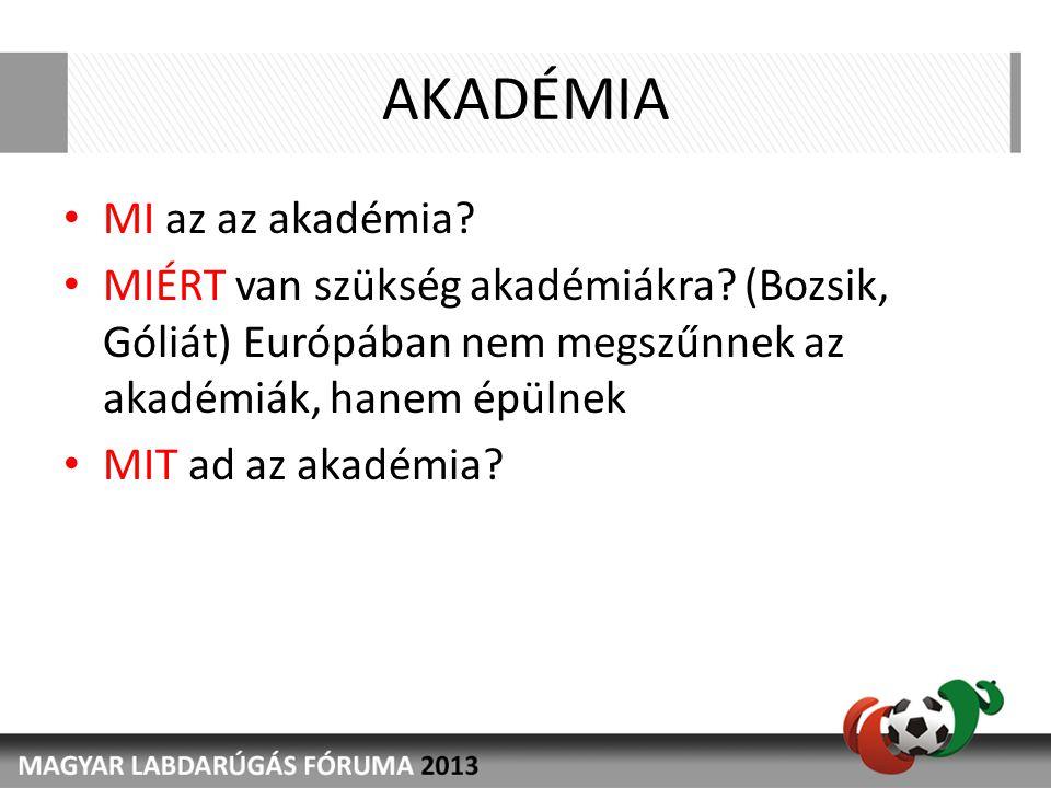 AKADÉMIA MI az az akadémia? MIÉRT van szükség akadémiákra? (Bozsik, Góliát) Európában nem megszűnnek az akadémiák, hanem épülnek MIT ad az akadémia?