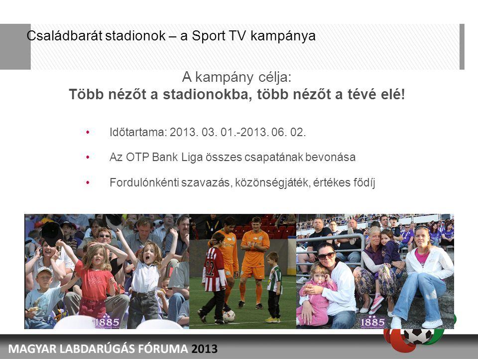 Családbarát stadionok – a Sport TV kampánya Időtartama: 2013.